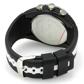 【Bel Air collection】 バイカラー ラバーベルト メンズ 腕時計 JY1 ホワイト【ビッグフェイス】2