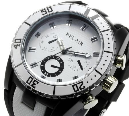 【Bel Air collection】 バイカラー ラバーベルト メンズ 腕時計 JY1 ホワイト【ビッグフェイス】3