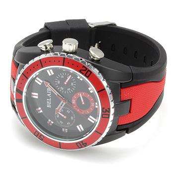 【Bel Air collection】 バイカラー ラバーベルト メンズ 腕時計 JY1 レッド【ビッグフェイス】1