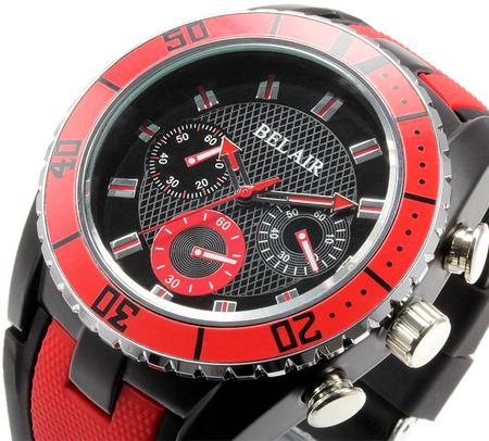 【Bel Air collection】 バイカラー ラバーベルト メンズ 腕時計 JY1 レッド【ビッグフェイス】3