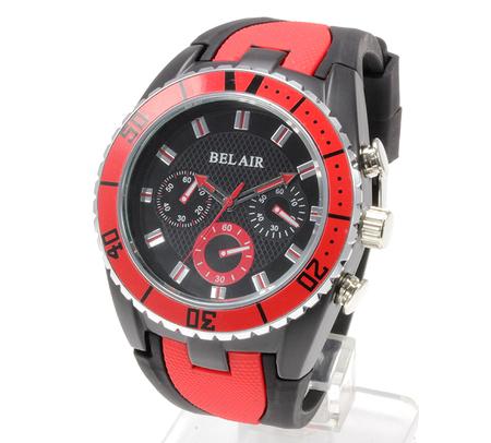 【Bel Air collection】 バイカラー ラバーベルト メンズ 腕時計 JY1 レッド【ビッグフェイス】4
