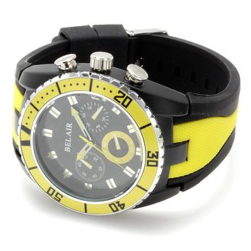 【Bel Air collection】 バイカラー ラバーベルト メンズ 腕時計 JY1 イエロー【ビッグフェイス】1