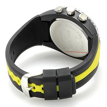 【Bel Air collection】 バイカラー ラバーベルト メンズ 腕時計 JY1 イエロー【ビッグフェイス】2