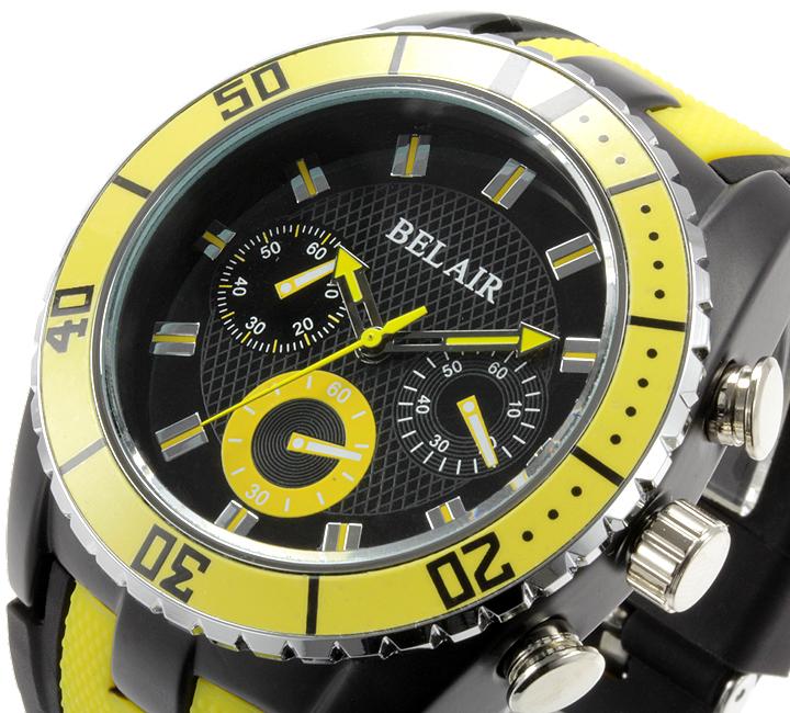 【Bel Air collection】 バイカラー ラバーベルト メンズ 腕時計 JY1 イエロー【ビッグフェイス】3