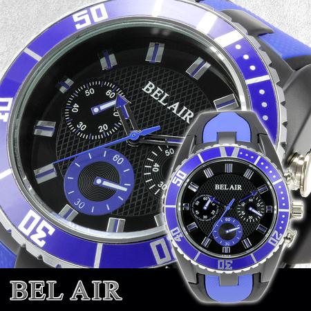 【Bel Air collection】 バイカラー ラバーベルト メンズ 腕時計 JY1 ブルー【ビッグフェイス】1