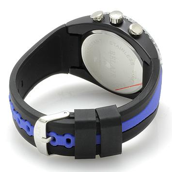 【Bel Air collection】 バイカラー ラバーベルト メンズ 腕時計 JY1 ブルー【ビッグフェイス】2