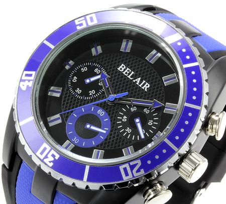 【Bel Air collection】 バイカラー ラバーベルト メンズ 腕時計 JY1 ブルー【ビッグフェイス】3