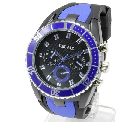 【Bel Air collection】 バイカラー ラバーベルト メンズ 腕時計 JY1 ブルー【ビッグフェイス】4