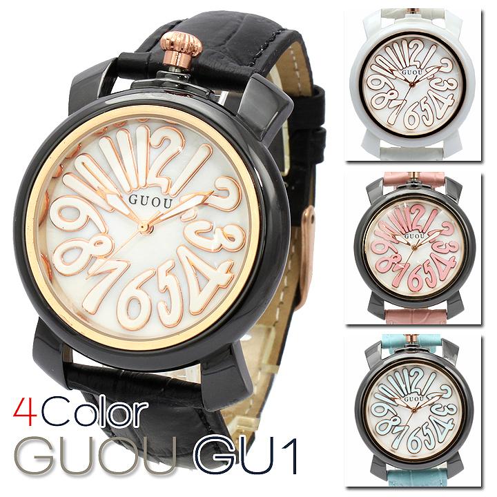 ハイクオリティシェル文字盤 トップリューズ式 レディース 腕時計 GU011