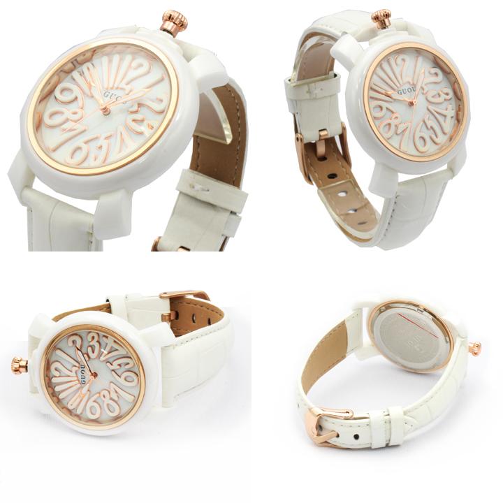 ハイクオリティシェル文字盤 トップリューズ式 レディース 腕時計 GU016