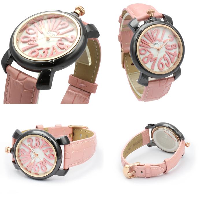 ハイクオリティシェル文字盤 トップリューズ式 レディース 腕時計 GU014