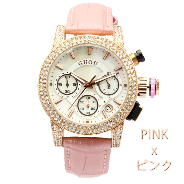 【クロノグラフ搭載】煌びやかなラインストーンベゼル レディース 腕時計 GU021