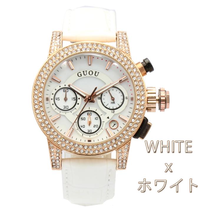 【クロノグラフ搭載】煌びやかなラインストーンベゼル レディース 腕時計 GU023
