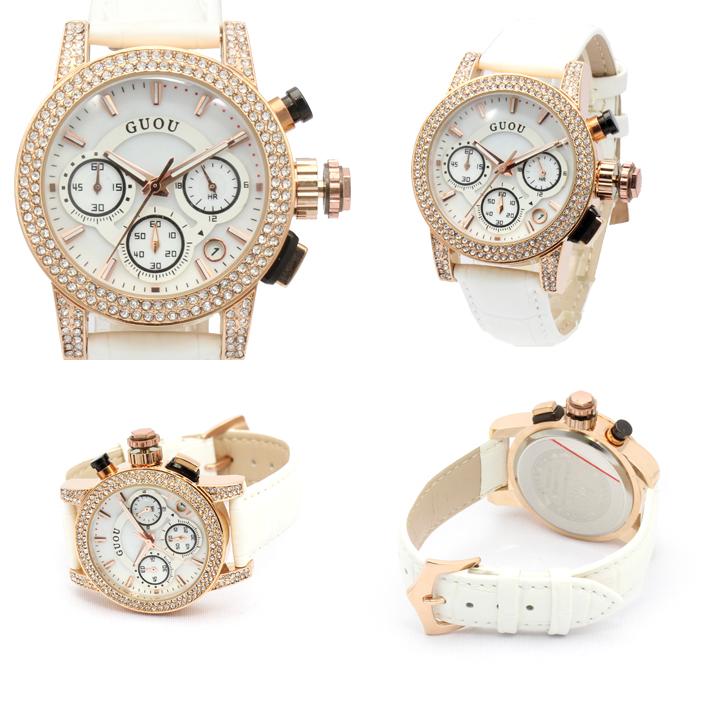 【クロノグラフ搭載】煌びやかなラインストーンベゼル レディース 腕時計 GU024