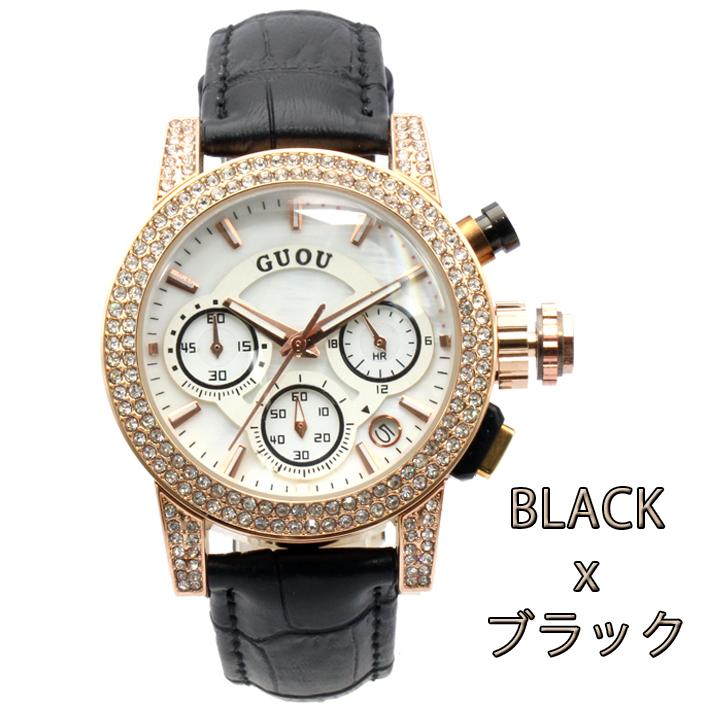 【クロノグラフ搭載】煌びやかなラインストーンベゼル レディース 腕時計 GU025