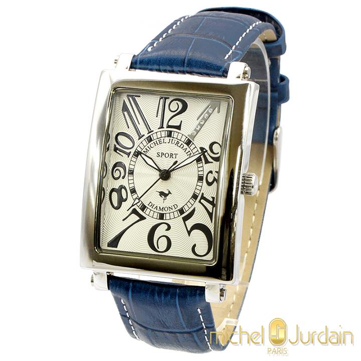 Michel Jurdain ミッシェルジョルダン 天然ダイヤ入り メンズ 腕時計 SG-3000-7nv1